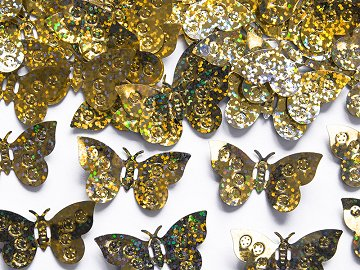 Holographic confetti Butterflies, gold, 15g