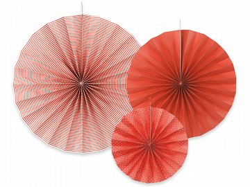 Decorative rosettes, red (1 pkt / 3 pc.)
