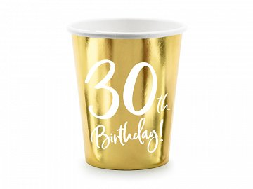 Paper cups 30th Birthday, gold, 220ml (1 pkt / 6 pc.)
