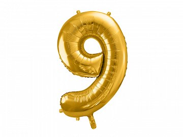 "Foil Balloon Number ""9"", 86cm, gold"