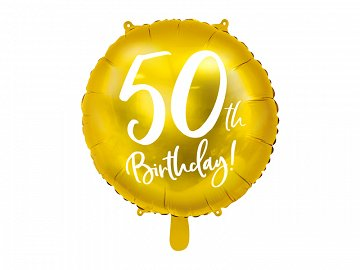 Foil Balloon 50th Birthday, gold, 45 cm