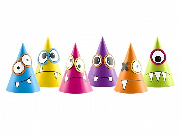 Party Hats Monsters, mix, 10cm (1 pkt / 6 pc.)