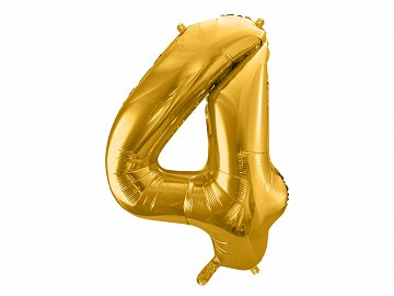 "Foil Balloon Number ""4"", 86cm, gold"