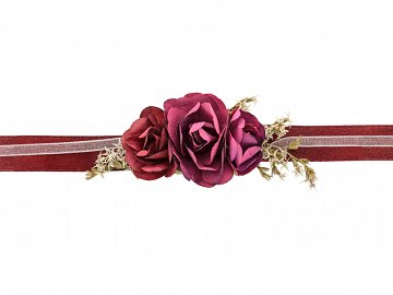 Flower wrist corsage, deep red