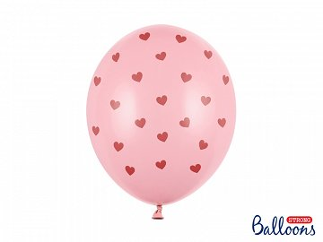 Balloons 30 cm, Hearts, Pastel Baby Pink (1 pkt / 6 pc.)
