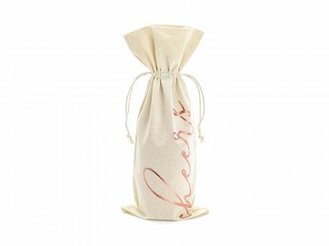 Wine cotton bag - Cheers, rose gold, 15.5x36cm (1 pkt / 5 pc.)