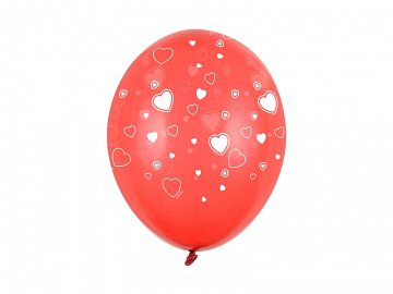 Balloons 30cm, Hearts, Crystal Poppy Red (1 pkt / 50 pc.)