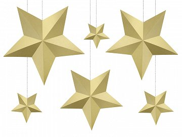 Decoration Stars, gold (1 ctn / 40 pkt) (1 pkt / 6 pc.)