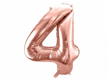 "Foil Balloon Number ""4"", 86cm, rose gold"