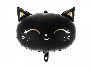 Foil Balloon Cat, 48x36cm, black