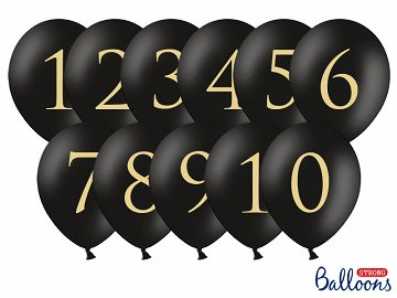 Balloons 30cm, Numbers, mix, Pastel Black (1 pkt / 11 pc.)