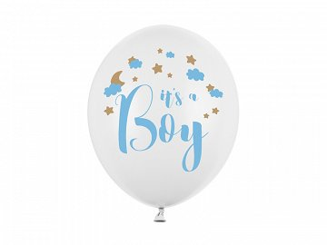 Balony 30cm, It's a Boy, Pastel Pure White (1 op. / 50 szt.)