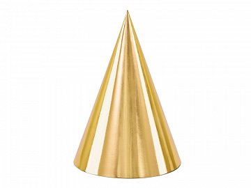 Party hats, gold, 16cm (1 pkt / 6 pc.)