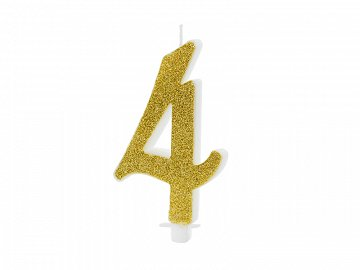 Birthday candle Number 4, gold, 10cm