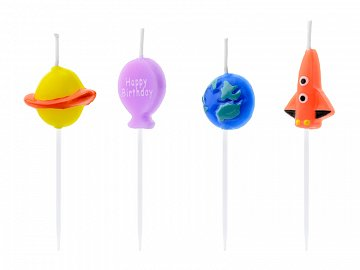 Birthday candles Space, mix, 2-3cm (1 pkt / 4 pc.)