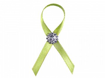 Lapel ribbons with a silver embellishment, green apple (1 pkt / 25 pc.)
