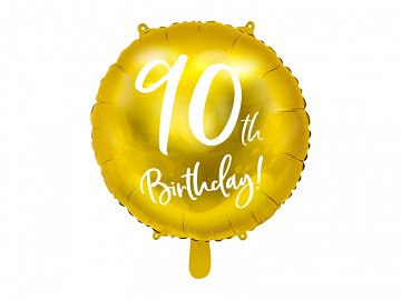 Foil Balloon 90th Birthday, gold, 45cm