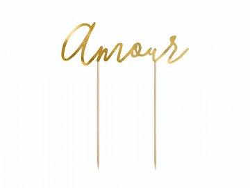 Cake topper Amour, gold, 22.5cm