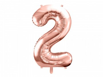 "Foil Balloon Number ""2"", 86cm, rose gold (1 ctn / 50 pc.)"