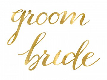 Chair signs Bride Groom, gold (1 pkt / 2 pc.)