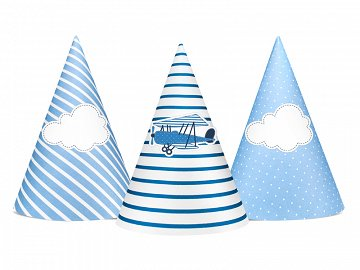 Little Plane Party Hats, mix, 10cm (1 pkt / 6 pc.)