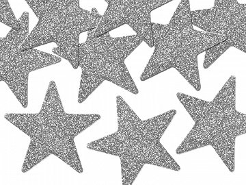 Glittery decorations Star, silver, 5cm (1 pkt / 8 pc.)