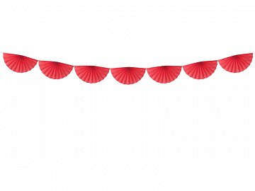 Tissue garland Rosettes, red, 3m