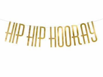 Banner Hip Hip Hooray, gold, 15x120cm, 1piece