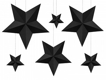 Decoration Stars, black (1 ctn / 40 pkt) (1 pkt / 6 pc.)