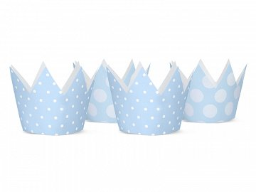 Party Crowns, sky-blue, 10cm (1 ctn / 100 pkt) (1 pkt / 4 pc.)
