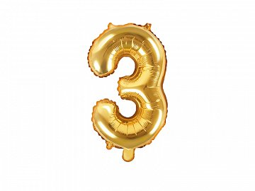 "Foil Balloon Number ""3"", 35cm, gold"
