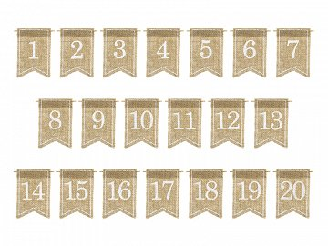 Jute tabel numbers, white, 7x10.5cm (1 pkt / 20 pc.)