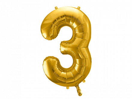 "Foil Balloon Number ""3"", 86cm, gold"