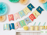 Banner Happy Birthday, mix, 15 x 175 cm