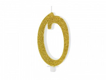 Birthday candle Number 0, gold, 10cm
