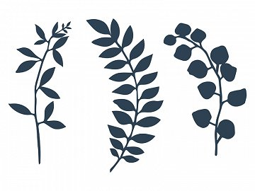 Branch with leaves decoration, d. navy blue (1 ctn / 60 pkt) (1 pkt / 9 pc.)