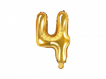 "Foil Balloon Number ""4"", 35cm, gold"