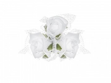 Posies with suction cups, white, 10cm (1 pkt / 4 pc.)