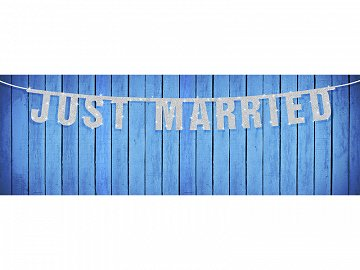 Baner Just Married, srebrny, 18 x 170cm (1 karton / 40 szt.)