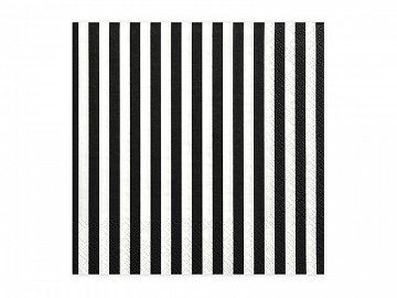 Napkins Stripes, black, 33 x 33 cm (1 pkt / 20 pc.)