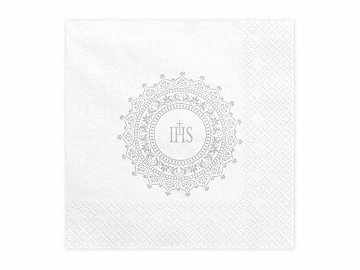 Napkins First Communion - IHS, 33x33cm, silver (1 pkt / 20 pc.)