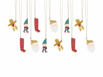 Gift tags Santa, mix (1 pkt / 12 pc.)