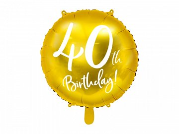 Foil Balloon 40th Birthday, gold, 45 cm