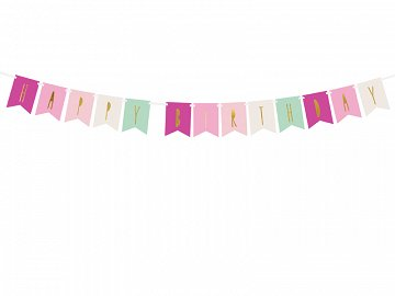 Baner Happy Birthday, mix, 11,5 x 140 cm (1 karton / 50 op.)