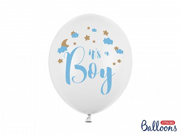 Balony 30cm, It's a Boy, Pastel Pure White (1 op. / 6 szt.)