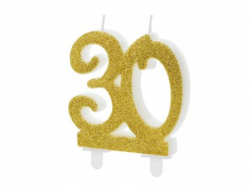 Birthday candle Number 30, gold, 7.5cm