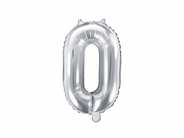 "Foil Balloon Number ""0"", 35cm, silver"