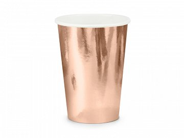 Paper cups, rose gold, 220ml  (1 pkt / 6 pc.)