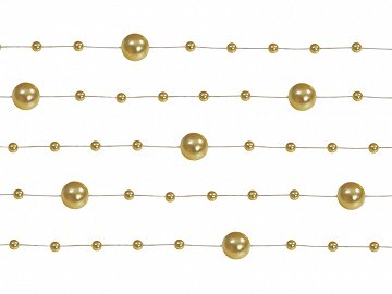 Pearl garlands, gold, 1.3m (1 pkt / 5 pc.)