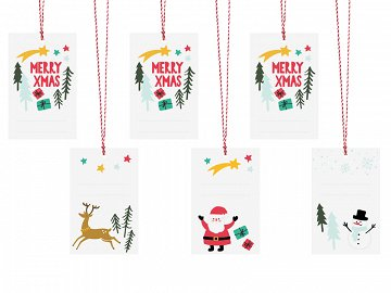 Gift tags Merry Xmas, mix, 5.5x8.5cm (1 pkt / 6 pc.)